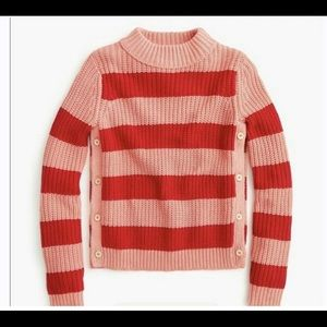 NWT J Crew chunky rugby sweater pink/red sz M